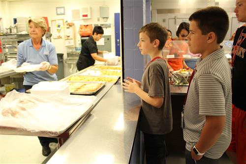 Students being served lunch