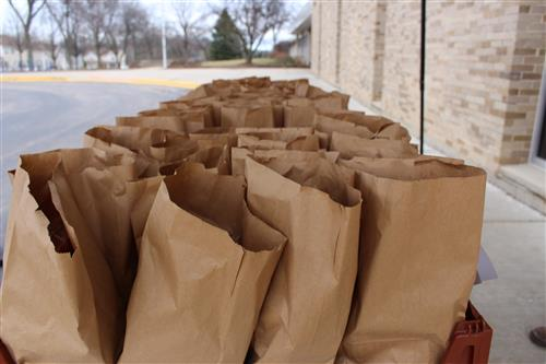Lunches lined up to be picked up