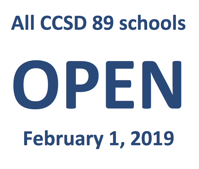 All CCSD 89 schools open on February 1