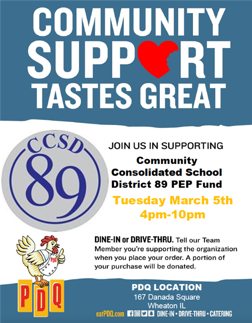 Support the PEP Foundation by eating at PDQ on March 5