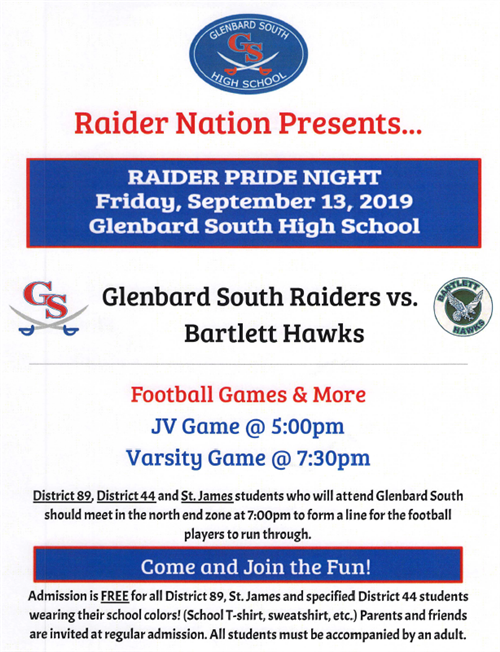Raider Pride night flier